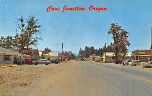Cave Junction OR Storefronts Cafe Shell Gas Station Old Cars Postcard