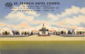 Montgomery Mobile Alabama~St Francis Hotel Courts~Roadside Motel~1952 Linen PC