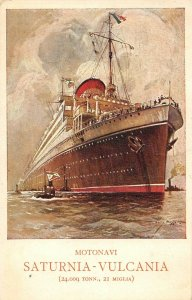 LP45  Ship Vintage Postcard Motonavi Saturnia Vulcania Cosulich Line
