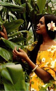Hawaii Beautiful Polynesian Maid Selects Ti Flowers For Her Own Hula Skirt