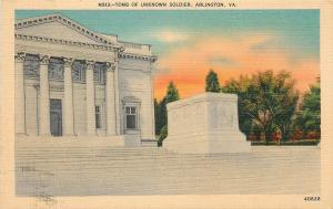 Arlington Virginia~Tomb of the Unknow Soldier~1940s Linen Postcard