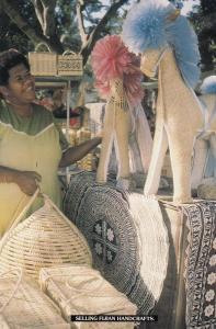 Fijian Fiji Handcrafts Hand Made Toy Horses Market Stall Postcard