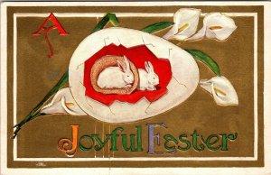 A JOYFUL EASTER GREETINGS - VINTAGE - RABBIT BUNNY EGG FLOWERS POSTCARD - PC