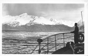 En Route to Alaska by Boat~Man Taking in View on Ship Deck~c1950s RPPC-Postcard
