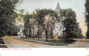Lenox Massachusetts~Episcopal Church at Fork in Road~House~1905 Postcard