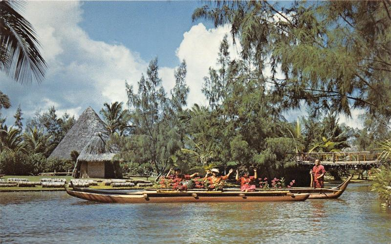 Hawaii~Samoans in Pageant of Long Canoes @ Plynesian Cultural Center~Postcard