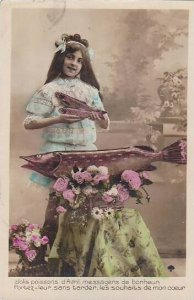 1er Avril April Fool's Day Young Girl With Fish