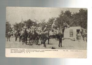 Mint WW 1 US Army General Clark on Horseback RPPC Postcard Pine Camp NY