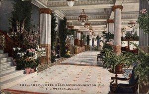 WASHINGTON DC Hotel Raleigh Lobby c1910 Postcard