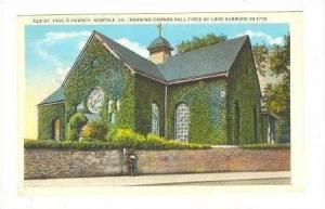 Old St. Pauls Church w/ Cannonball Hole, Norfolk, VA 1910-20s