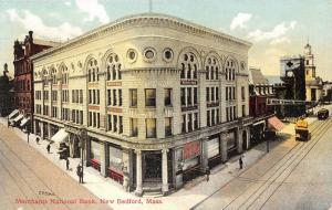 New Bedford MA~Merchants National Bank Corner~Oxford Shop~Trolley~1908 Postcard