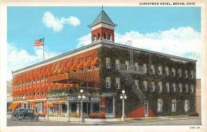 Bryan Ohio Christman Hotel Street Scene Antique Postcard (K2373)