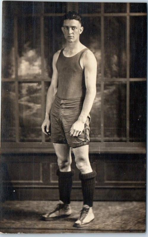 Vintage RPPC STUDIO Real Photo Postcard BASKETBALL PLAYER Athlete Uniform c1920s