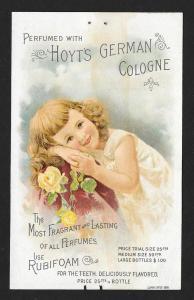 VICTORIAN TRADE CARD Hoyt's Cologne Girl Calendar