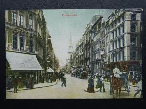 City of London CHEAPSIDE Animated Street Scene c1906 Postcard