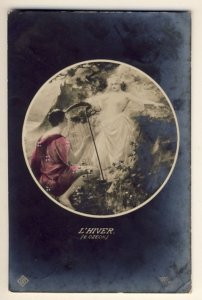 L'HIVER - E.Czech - woman playing harp to topless lady and cherub? - RPPC