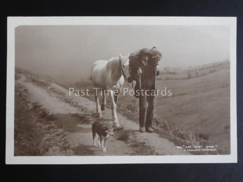 Cumbria A LAKELAND SHEPHERD & DOG, CARRIES SHEEP The Cast Shoe Old RP Postcard