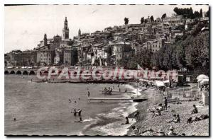 Old Postcard Menton view of the city and the beach