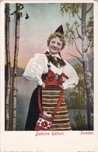 Sweden Dalarne Rattvik Woman In Traditional Costume