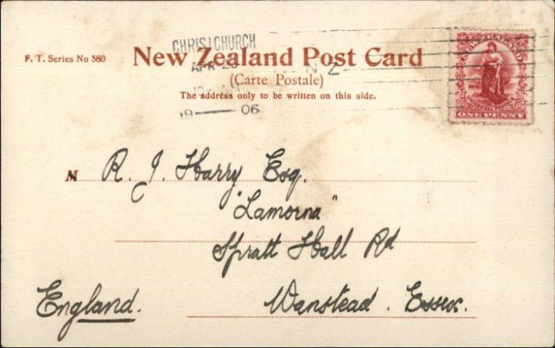 Christchurch New Zealand Birdseye View 1906 Used Postcard
