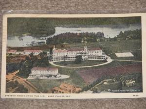 Stevens House from the Air, Lake Placid, N.Y., used vintage card