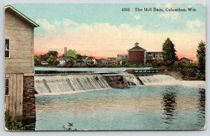 Columbus Wisconsin~Mill Dam on Crawfish River~City Skyline~c1912 Postcard