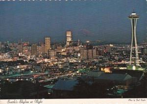 Washington Seattle Skyline At Night 1972