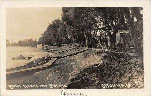 LP77 Ottumwa  Iowa Postcard RPPC Boat House Landing