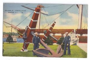Anchors Constellation Newport RI 1942 Linen Naval Training