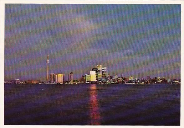 Canada A Twilight View Of The Skylines As Seen From Centre Island Toronto Ont...
