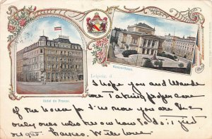 Leipzig, Germany, 2 Scenes: the Concert Hall and Prussia Hotel, 1902 postcard
