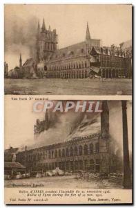 Old Postcard Belgium Ypres Halles during & # 39incendie of November 22, 1914