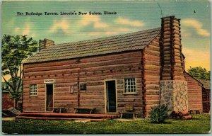 Vintage 1940s Illinois Postcard RUTLEDGE TAVERN, Lincoln's New Salem Linen