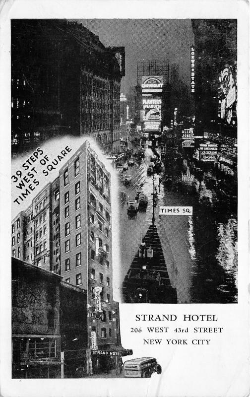 New York City~Times Square (Rainy Night) & Strand Hotel~1953 B&W Postcard