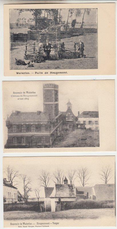 P2213, old postcard 3 dif waterloo scenes belgium