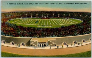 New Haven CT Postcard Football Game at YALE BOWL Yale University Linen 1940s