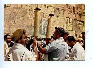 179434 Jerusalem Wailing wall reading Thora old postcard