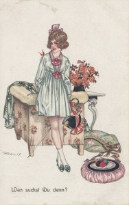 ART DECO ; Female wearing pale green/pink high waist dress, 1910-20s