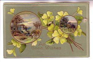 Flowers,  Embossed, Scenes, All Good Wishes, Davidson Bros, Printed in Germany
