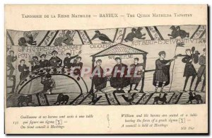 Old Postcard Bayeux Tapestry of Queen Matilda William and his barons are sitt...