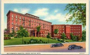 Grand Rapids, Michigan Postcard BUTTERWORTH HOSPITAL Street View Linen c1940s
