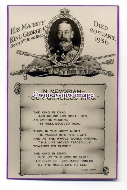 r1450 - King George V - In Memoriam - Our Gracious King - postcard
