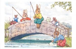 The bridge by Margaret Tempest Antropomorphic Fishing Humanized Rabbits & mice