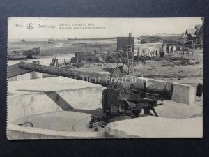 WW1 Belgium Ruines de ZEEBRUGGE No.2 1914-18 Gun at the entrance of the MOLE