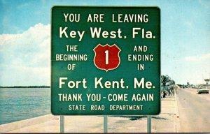 Florida Key West U S Highway 1 Leaving Key West 1961