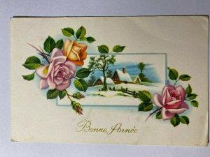 POSTED 1963 VINTAGE GREETING POSTCARD - BONNE ANNEE SNOW CABIN   (KK1215)