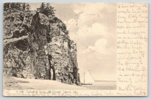 Mt Desert Island Maine~Sailboat Sails Past Cathedral Rock~1908 B&W UDB Rotograph