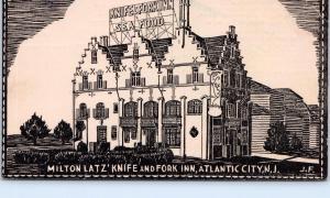 ATLANTIC CITY, NJ New Jersey   KNIFE & FORK INN   Roadside  c1940s  Postcard