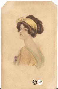 Vintage Artist Signed Postcard Woman  with Headband Posting Edwardian Arhie Gunn