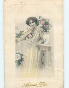 Pre-Linen foreign PRETTY FRENCH GIRL BESIDE ROSE FLOWERS IN ANTIQUE VASE HL7997